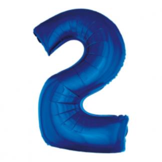 Granatowy balon foliowy w kształcie cyfry 2