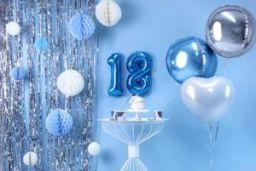 Srebrna kurtyna party i dekoracje na 18 urodziny