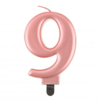 Różowe złoto świeczka na tort w kształcie cyfry 9