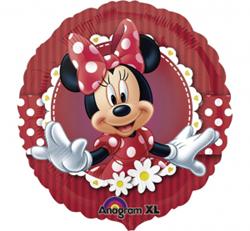 Bordowy balon foliowy z myszką Minnie