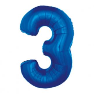 Granatowy balon foliowy w kształcie cyfry 3
