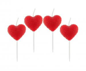 Świeczki na tort w kształcie czerwonego serca
