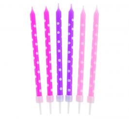 Świeczki na tort różowe w kropki