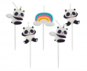 Świeczki na tort w kształcie pandy