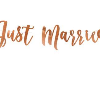 """Baner w kolorze różowego złota z napisem """"just married"""""""