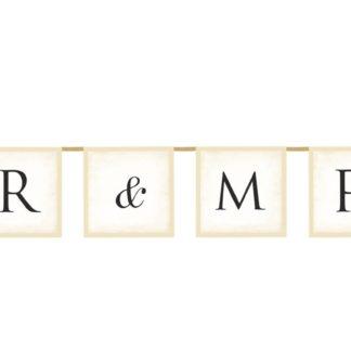 "Baner różowy z napisem ""Mr & Mrs"""