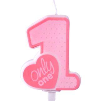 """Różowa świeczka na tort w kształcie cyfry 1 i z napisem """"only one"""""""