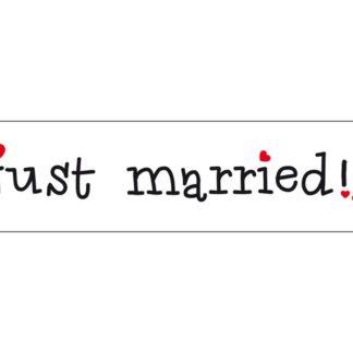 """Tablica rejestracyjna z napisem """"just married"""""""