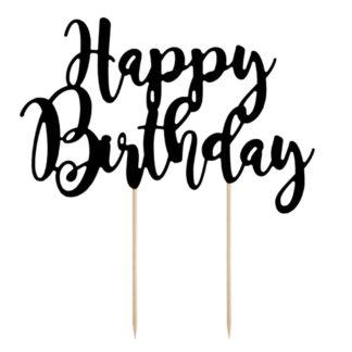 """Topper w kształcie napisu """"happy birthday"""""""
