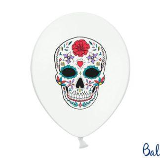 Biały balon z rysunkiem kolorowej czaszki
