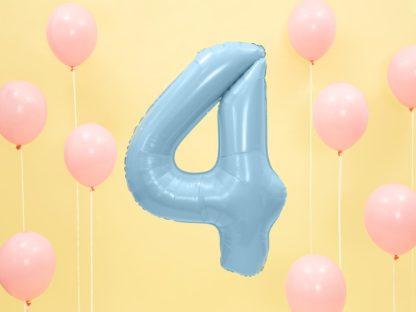 Niebieski balon foliowy w kształcie cyfry 4
