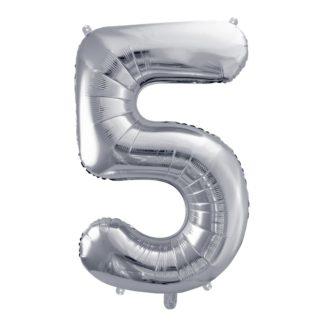 Srebrny balon foliowy w kształcie cyfry 5