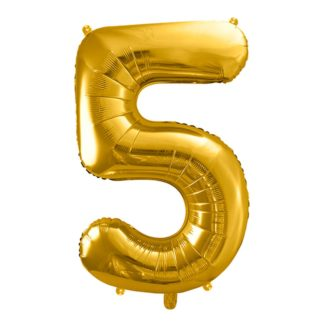 Złoty balon foliowy w kształcie cyfry 5