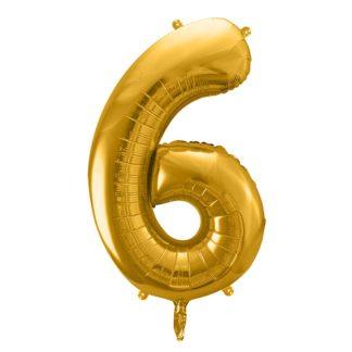 Złoty balon foliowy w kształcie cyfry 6
