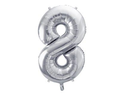Srebrny balon foliowy w kształcie cyfry 8