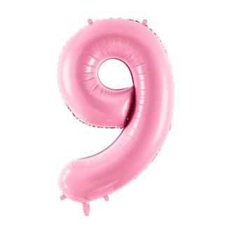 Różowy balon foliowy w kształcie cyfry 9