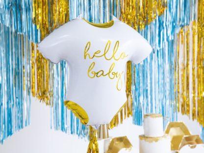 """Balon foliowy w kształcie ubranka dla dziecka z napisem """"Hello baby"""""""
