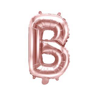 Różowe złoto balon foliowy w kształcie litery B