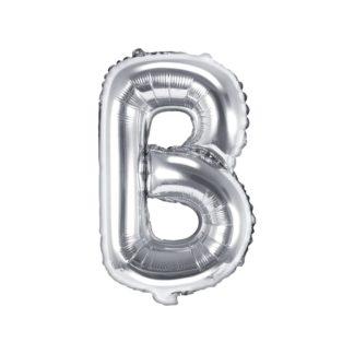 Srebrny balon foliowy w kształcie litery B