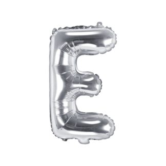 Srebrny balon foliowy w kształcie litery E