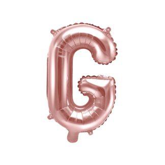 Różowe złoto balon foliowy w kształcie litery G