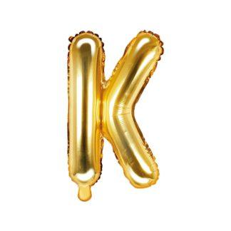 Złoty balon foliowy w kształcie litery K