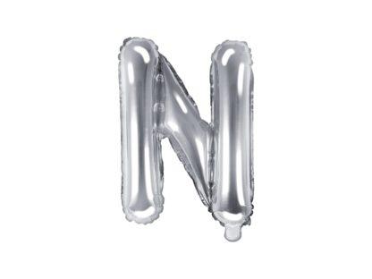 Srebrny balon foliowy w kształcie litery N