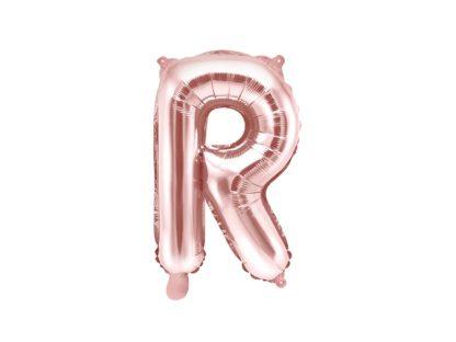 Różowe złoto balon foliowy w kształcie litery R