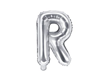 Srebrny balon foliowy w kształcie litery R