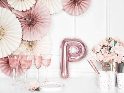 Różowe złoto balon foliowy w kształcie litery P