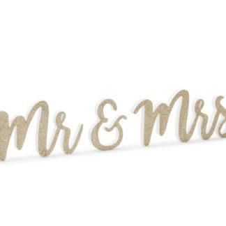 """Złoty, drewniany napis """"Mr&Mrs"""""""