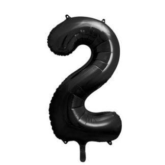 Czarny balon foliowy w kształcie cyfry 2