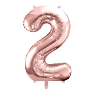 Różowe złoto balon foliowy w kształcie cyfry 2