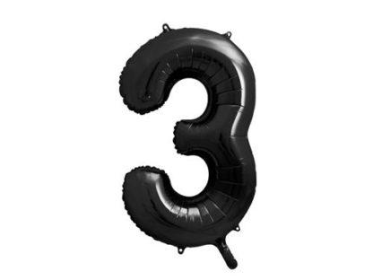 Czarny balon foliowy w kształcie cyfry 3
