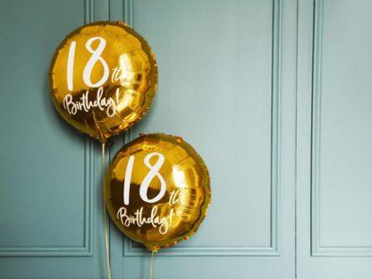 Złoty balon foliowy na 18 urodziny