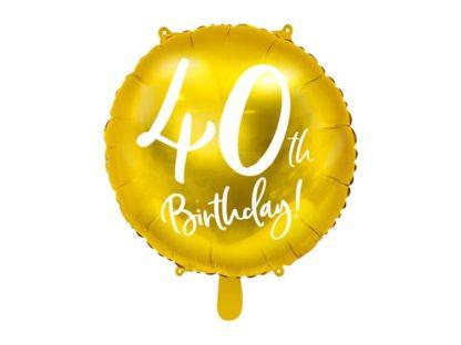 Złoty balon foliowy na 40 urodziny