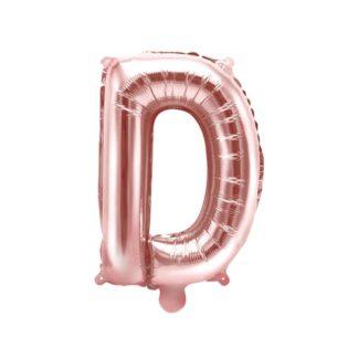 Różowe złoto balon foliowy w kształcie litery D