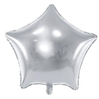 Srebrny balon foliowy w kształcie gwiazdki