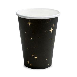 Czarny kubeczek papierowy w złote gwiazdki