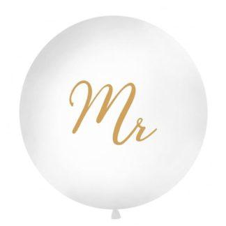 Biały balon ze złotym napisem Mr