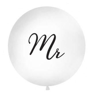 Biały balon z czarnym napisem Mr