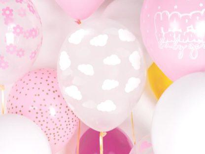 Różowe i białe balony lateksowe