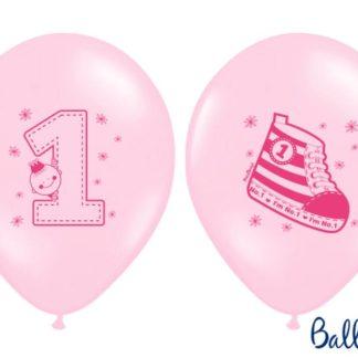 Różowe balony lateksowe na pierwsze urodziny