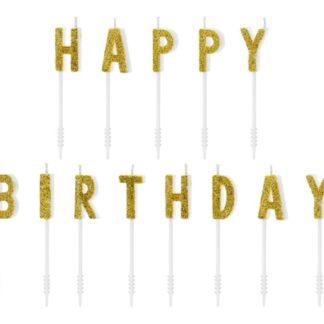 """Świeczki urodzinowe w kształcie literek """"happy birthday"""""""