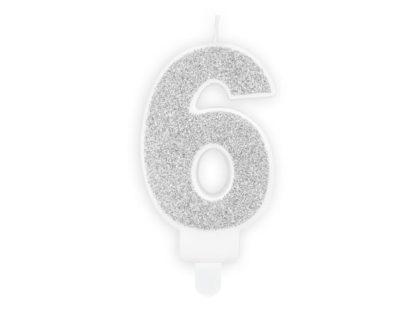 Srebrna świeczka na tort w kształcie cyfry 6