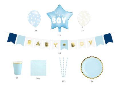 Elementy zestawu dekoracyjnego niebieskiego na baby shower