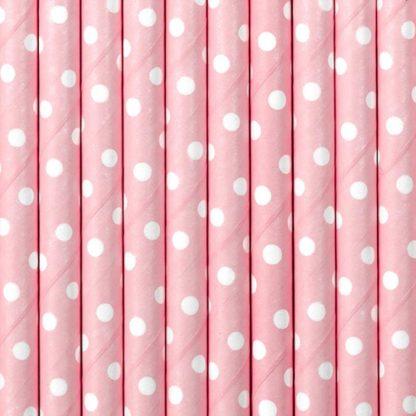 Różowe słomki papierowe w białe kropki