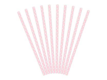 Zestaw różowych słomek papierowych w białe kropki