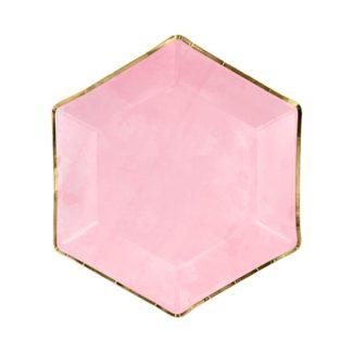 Różowy talerzyk ze złotą obramówką