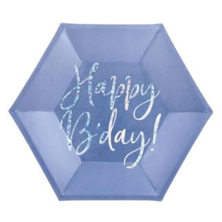 """Granatowy talerzyk z napisem """"happy birthday"""""""
